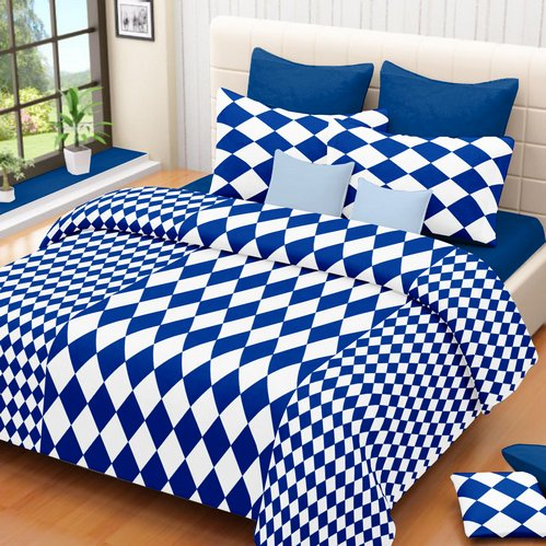 Checkered Cotton Double Bedsheet White Blue Clearance