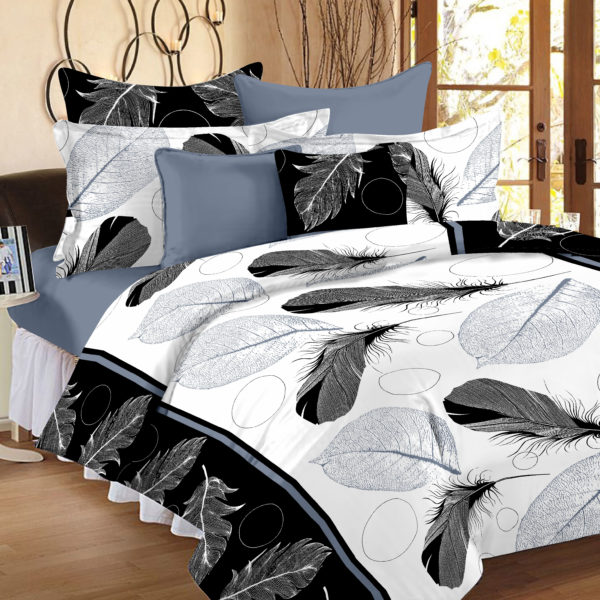 Abstract Cotton Double Bedsheet - Black, White, Grey