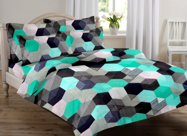 Abstract Cotton Double Bedsheet - Green