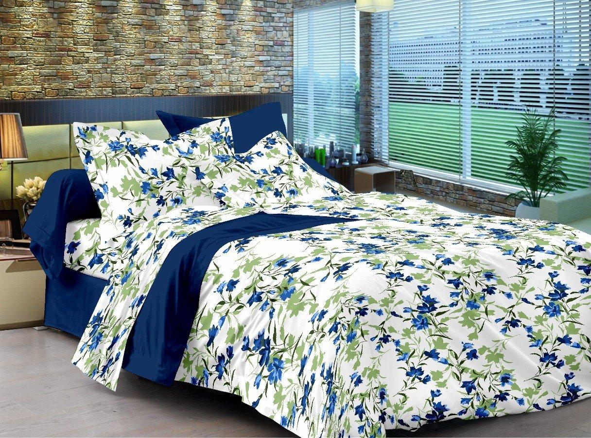 Floral Cotton Double Bedsheet   Blue