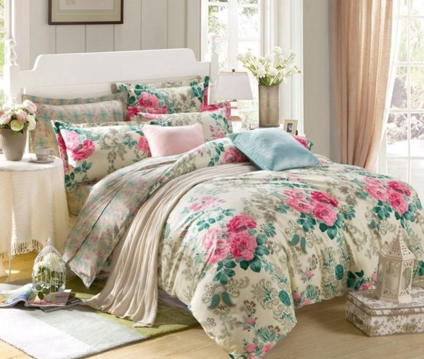 Floral Cotton Double Bedsheet - Beige, Pink, Green