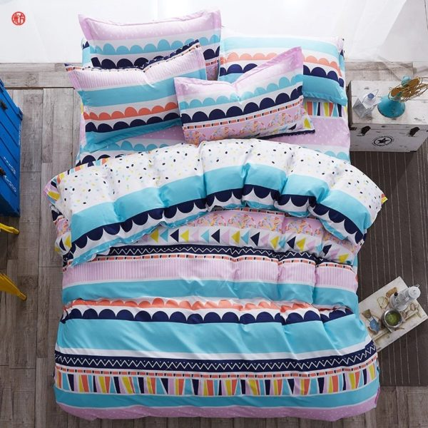 Abstract Cotton Double Bedsheet - Pink, Blue & Yellow