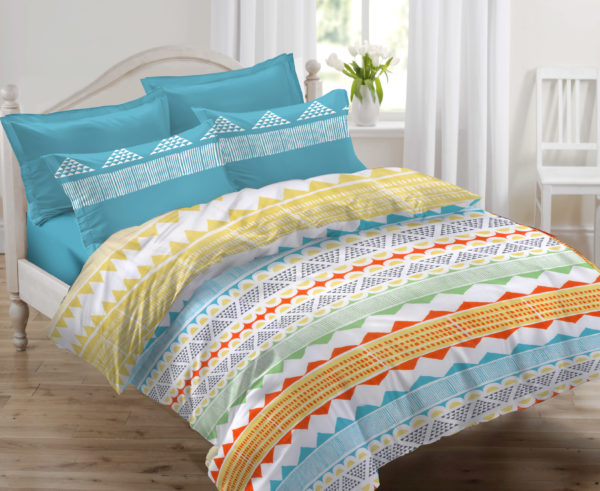 Abstract Cotton Double Bedsheet - Blue, Yellow & Orange
