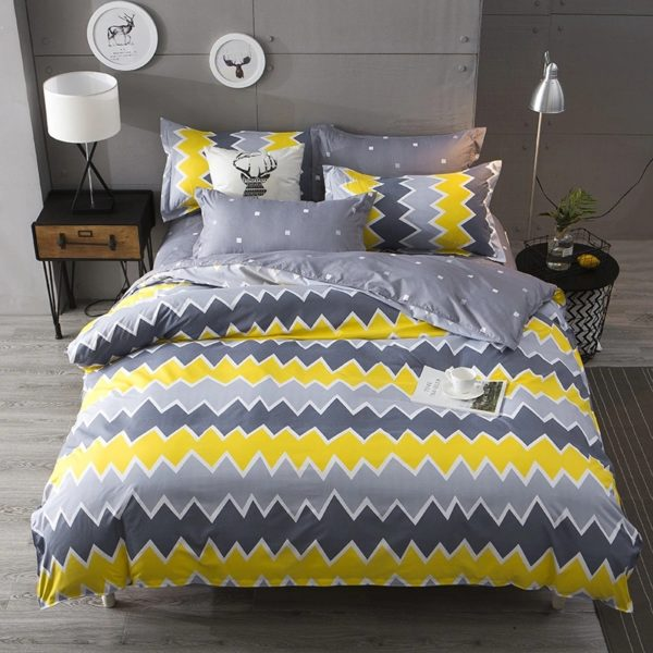 ZigZag Cotton King Bedsheet - Yellow & Grey