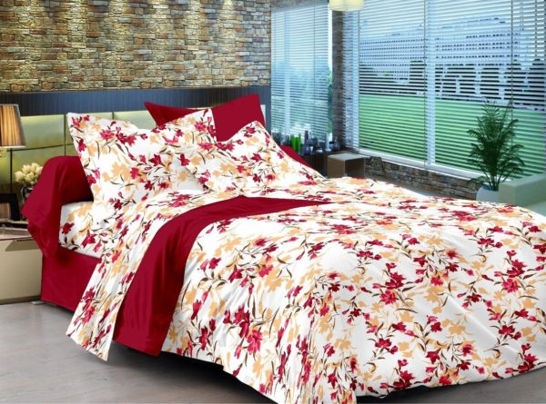 Floral Cotton Single Bedsheet - Maroon