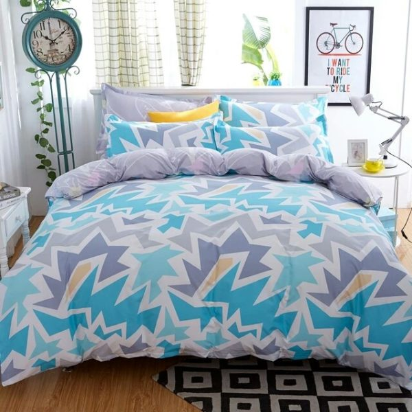 Abstract Cotton Single Bedsheet - Blue & Grey