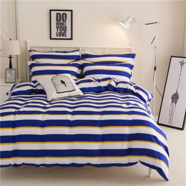 striped Cotton Single Bedsheet - Blue, Yellow, White