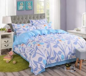 Floral Cotton Single Bedsheet - White, Blue & Orange