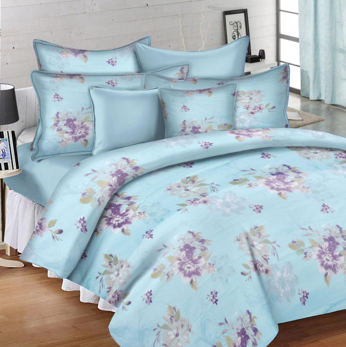 Floral Cotton Single Bedsheet - Blue