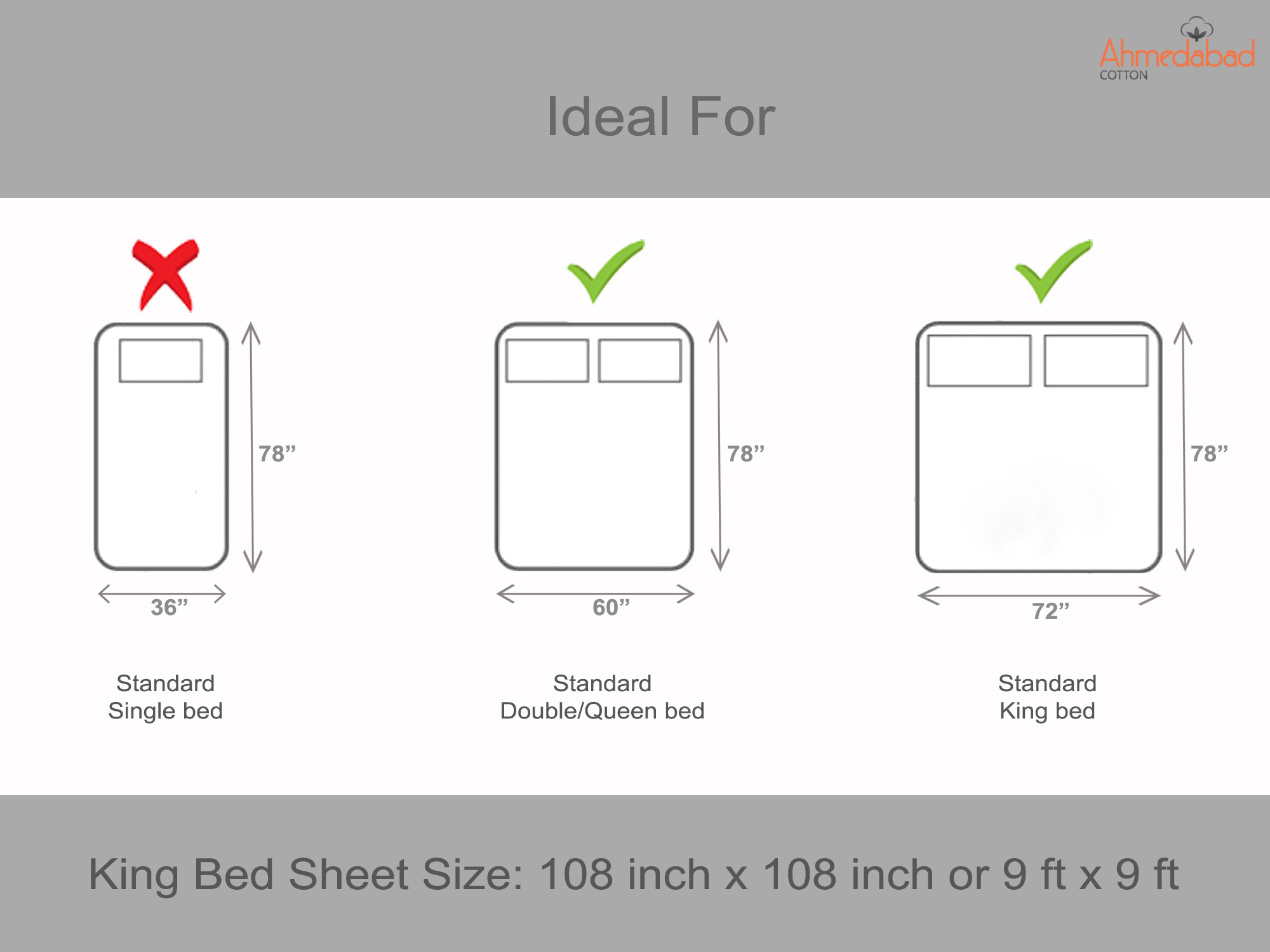 Plain Cotton King Bedsheet - White