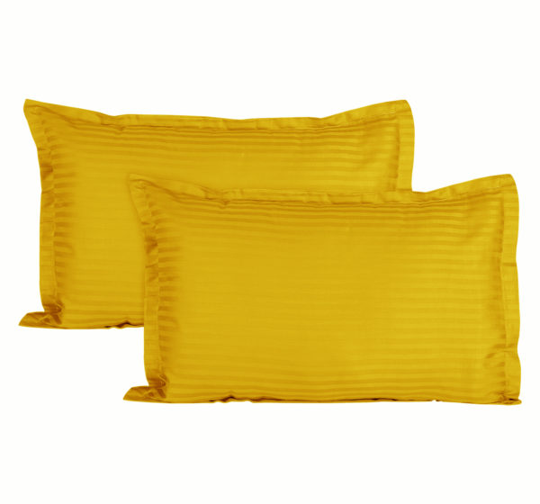 Sateen Striped Cotton 2 pcs Pillow Covers - Yellow