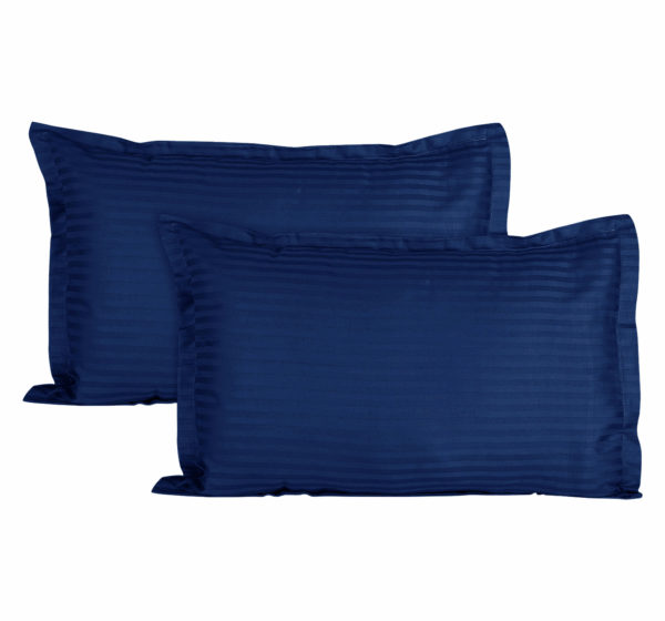 Sateen Striped Cotton 2 pcs Pillow Covers - Navy Blue