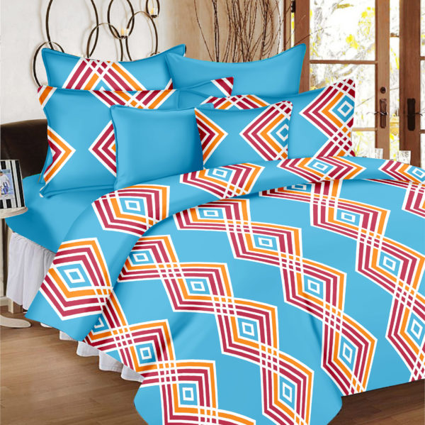 Abstract Cotton Double Bedsheet - Blue
