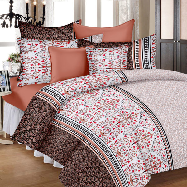 Abstract Cotton Double Bedsheet - White, Brown, Red