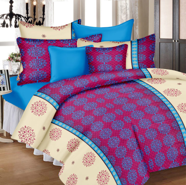 Abstract Cotton Double Bedsheet - Pink, Blue