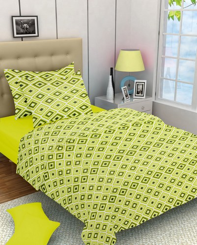 Abstract Cotton Single Bedsheet - Green