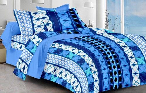 Abstract Cotton Single Bedsheet - Blue