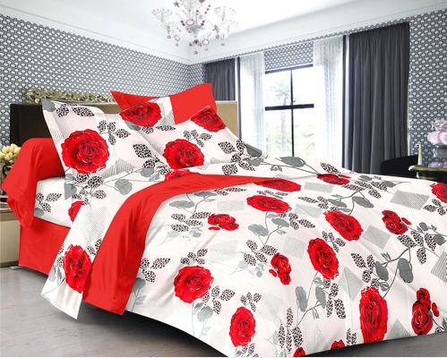 Floral Premium Sateen Double Bedsheet - White, Red, Grey