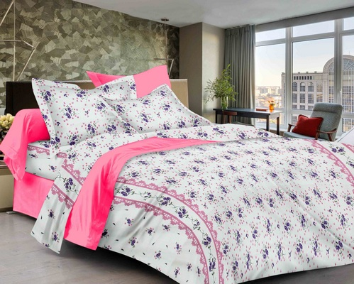 Floral Premium Sateen Double Bedsheet - White, Purple, Pink