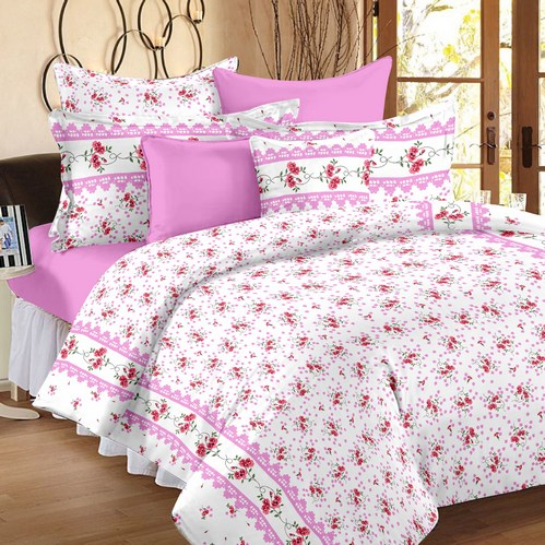 Floral Premium Sateen Double Bedsheet - White, Pink, Red