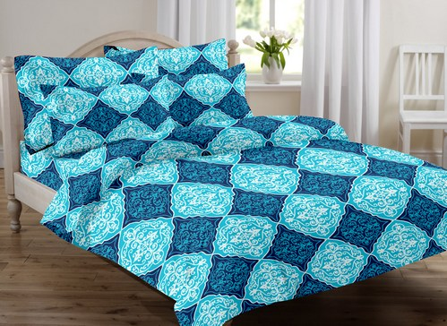 Abstract  Premium Sateen Double Bedsheet - Blue