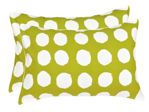 Circle Cotton 2 pcs Pillow Covers - Green, White