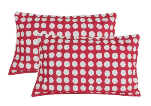 b4679e6b8c Circle Cotton 2 pcs Pillow Covers - Red, White (Clearance Sale ...