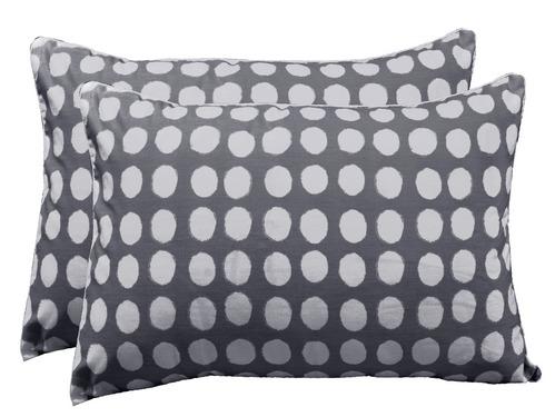 Circle Cotton 2 pcs Pillow Covers - Grey