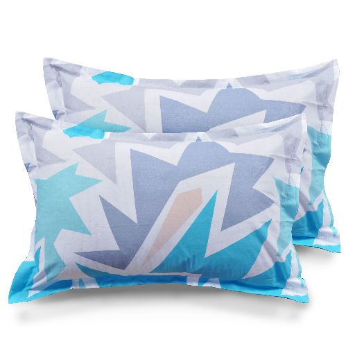 Abstract Cotton 2 pcs Pillow Covers - Blue, Grey