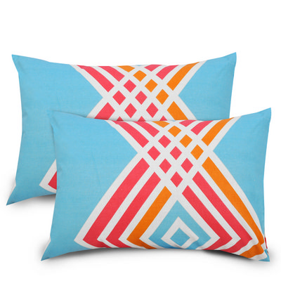 Abstract Cotton 2 pcs Pillow Covers - Blue, Red & orange