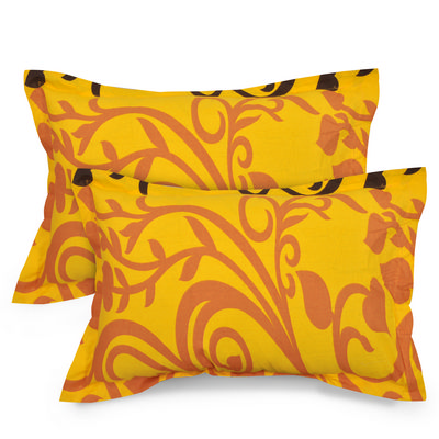 Abstract Cotton 2 pcs Pillow Covers - Yellow, Orange