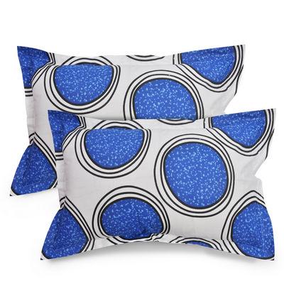 Circle Cotton 2 pcs Pillow Covers - White, Blue