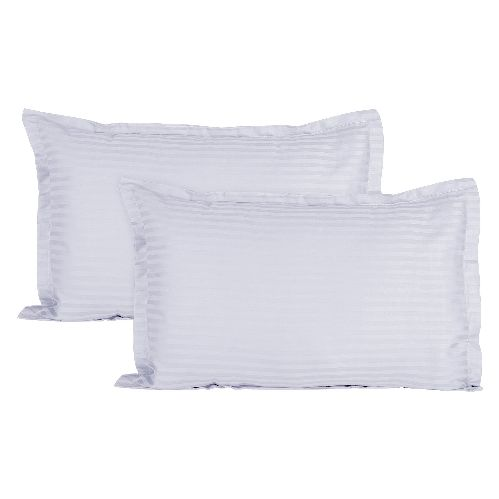 Sateen Striped Cotton 2 pcs Pillow Covers - White