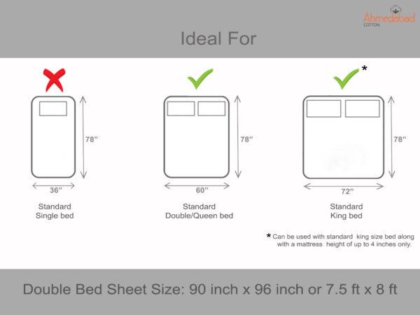 Jaipuri Cotton Double Bedsheet - Cream, Brown, Purple