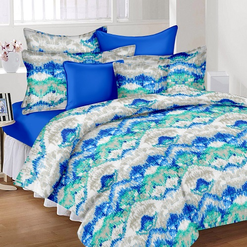 Abstract Cotton Double Bedsheet - Blue and Green
