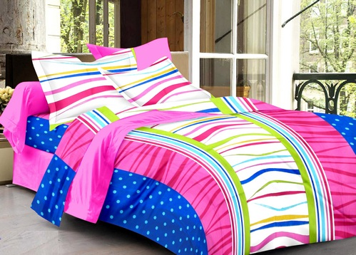 Abstract Cotton Double Bedsheet - Multicolor