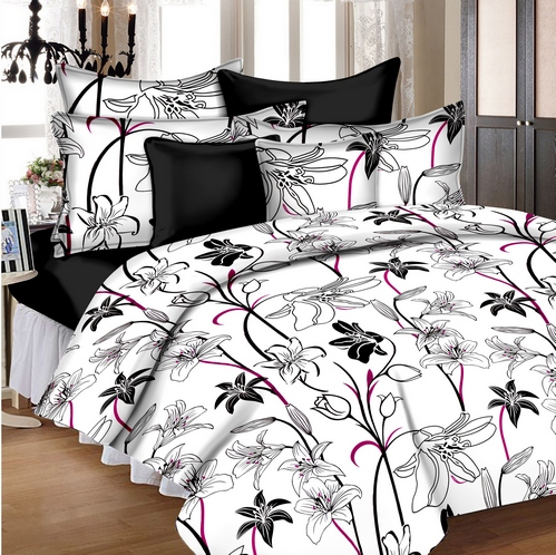 Floral Cotton Double Bedsheet - Black and White