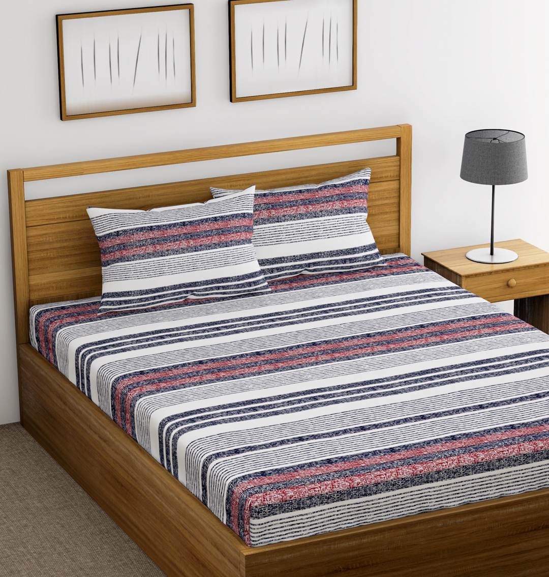 Striped Cotton 144tc Bedsheet Blue And Red Ahmedabad